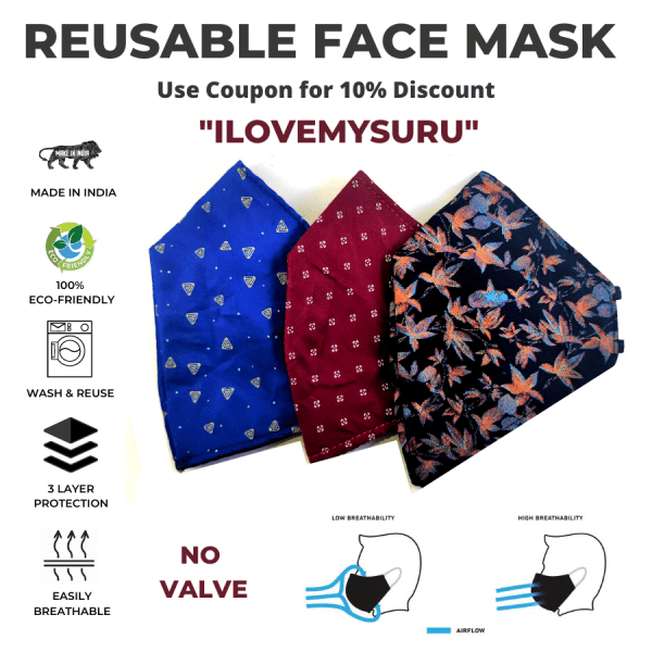 sbt 3 ply reusable face mask without valve