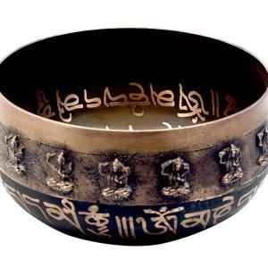 tibetan singing bowl with embossing
