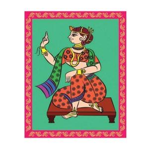 Kalamkari Gopi Canvas Art