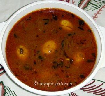egg pulusu, guddu pulusu, kodi guddu pulusu, eggs in a tamarind based sauce