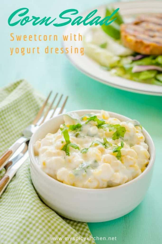 Bowl of corn raita or corn salad with yogurt dressing