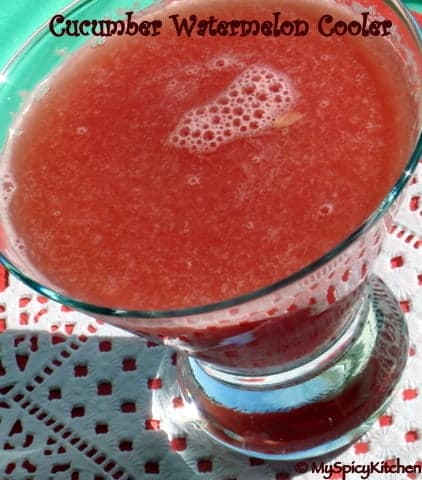 Glass of cucumber watermelon cooler