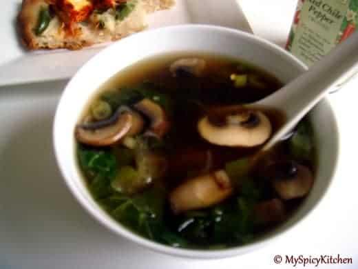 Bok Choy and mushroom soup