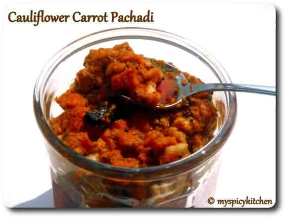 Cauliflower Pachadi, Carrot Pachadi, Cauliflower Pachadi, Gobhi Achar, Gajar A