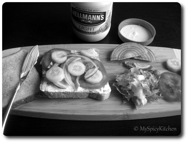 Making a sandwich, B&W wednesday