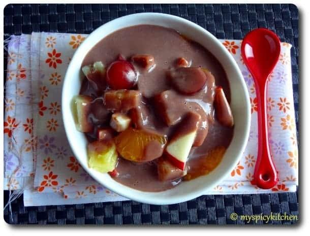 Chocolate Mela, Chocolate Custard, Chocolate Puding, Fruit Salad, Fruit Salad with Chocolate Custard, Blogging Marathon