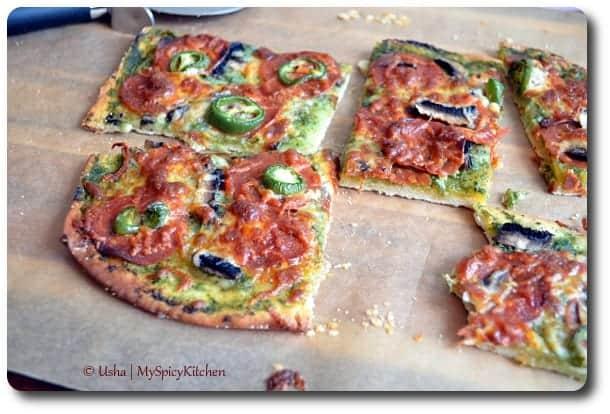 Home Bakers, Pepperoni Mushrooms Jalapeno Pizza with Coriander Chutney