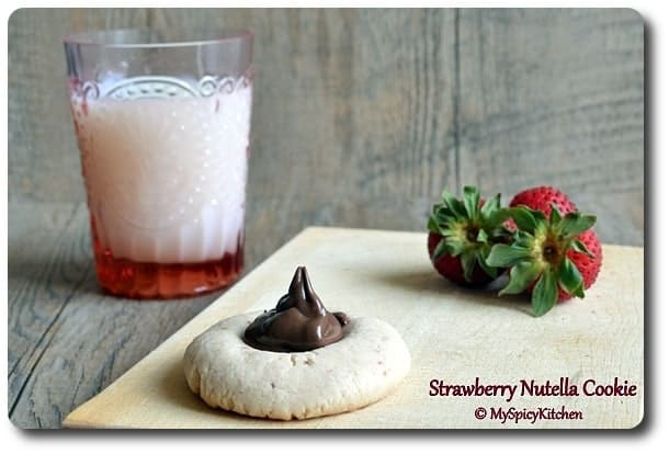 Strawberry Nutella Eggless Cookies