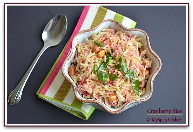 Cranberry Pulihora, Blogging marathon, Cranberry Recipe,