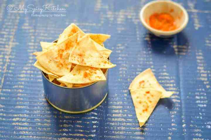 Homemade baked corn tortilla chips