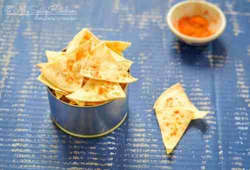 Homemade baked corn tortilla chips