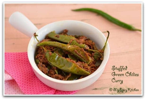 Cooking from Cookbook Challenge, Long hot peppers curry, mirupakaya kura, Mirchi Curry, mirchi ki subzi
