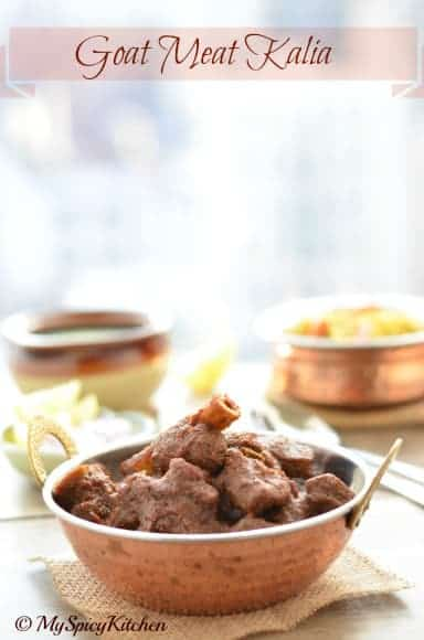 Goat kalia, Mutton Kalia, Mutton Curry, Goat Curry, Masaledar Gosht, North Indian Recipe, Blogging Marathon,