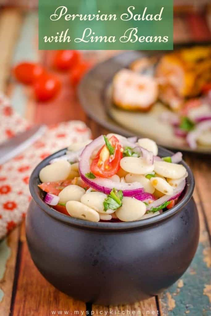 A bowl of Peruvian lima beans salad.  It is a simple salad tossed in a lime vinaigrette and great side dish.