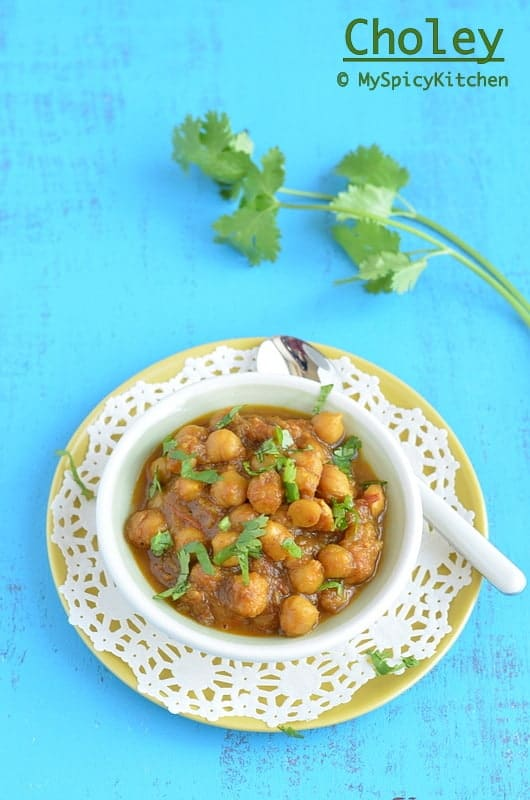 Chana Masala, Chole, Punjabi Chole, Punjabi Choley, Chickpeas Curry, Garbanzo Beans Curry, Cooking from Cookbook Challenge, CCChallenge