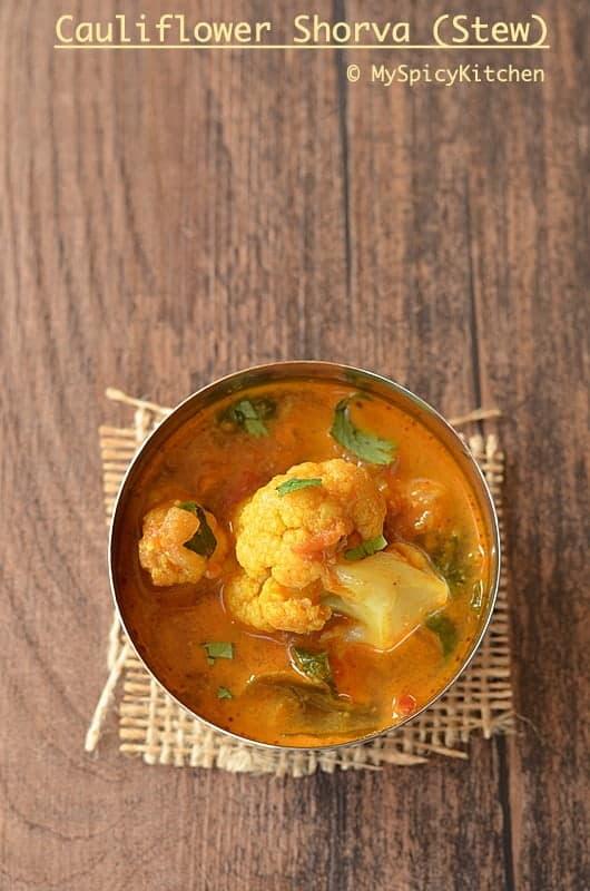 Cauliflower shorba, Cauliflower Stew, Indian Food, Telangana Food, Cauliflower Gravy, Cauliflower Curry, Blogging Marathon