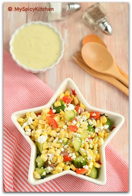 Crunchy Sweet Corn Salad with Buttermilk Dressing