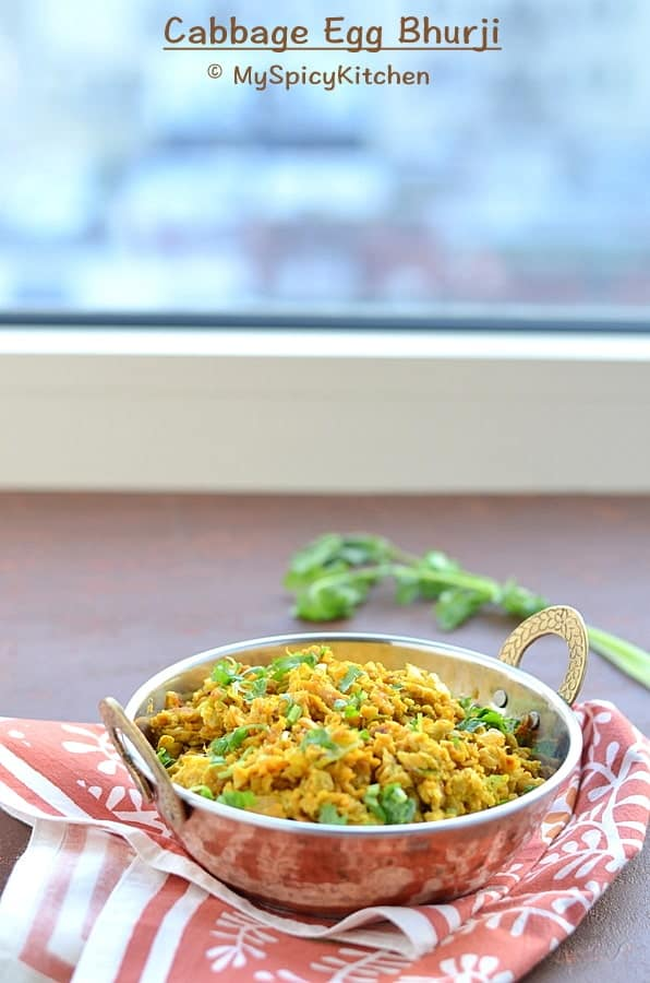 Cabbage Egg Bhurji, Egg Bhurji, Cabbage Bhurji, Indian Food, Bhurji, Scrambled Egg, Indian Scrambled Egg, Blogging Marathon,