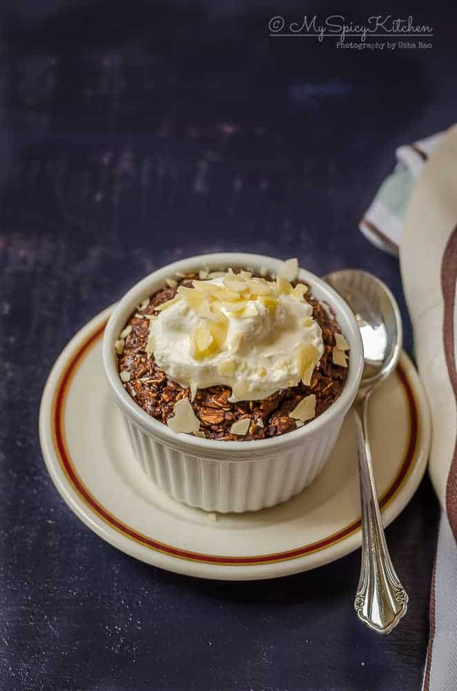 Bakeathon, Healthy Baked Chocolate Oats, Baked Chocolate Oats, Baked Oats, Breakfast, Oats Breakfast, One Pot Bake, One Pot Dish, Cooking For One, Eggless Bakes,