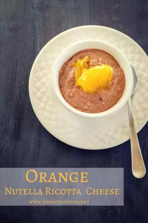 Bowl of orange nutella ricotta cheese
