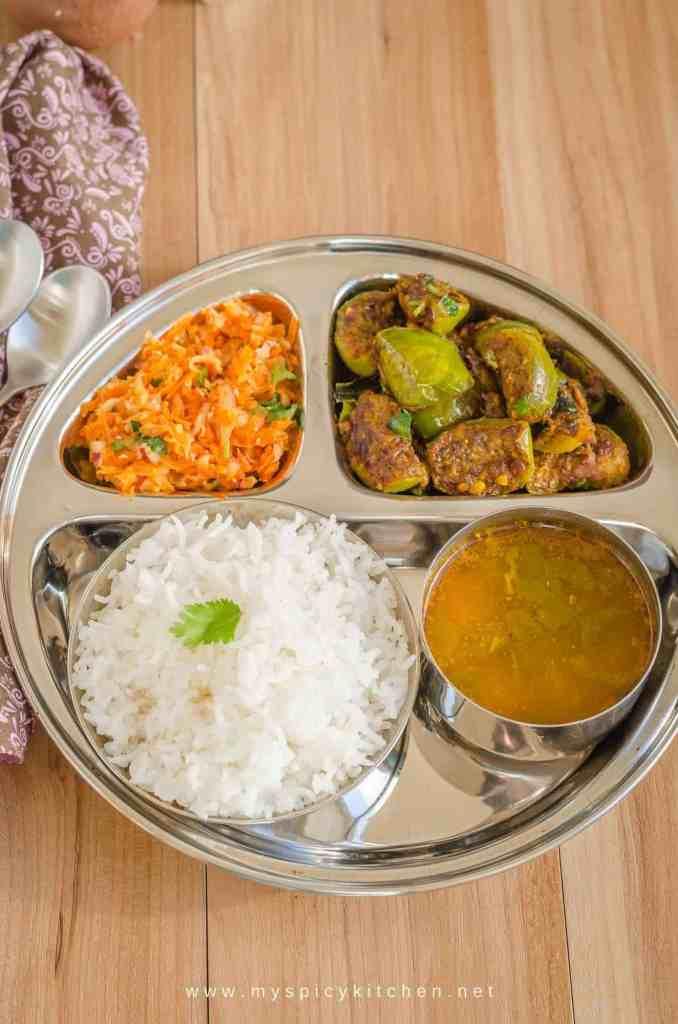 Everyday meal - vankaya masala koora carrot salad ad rasam