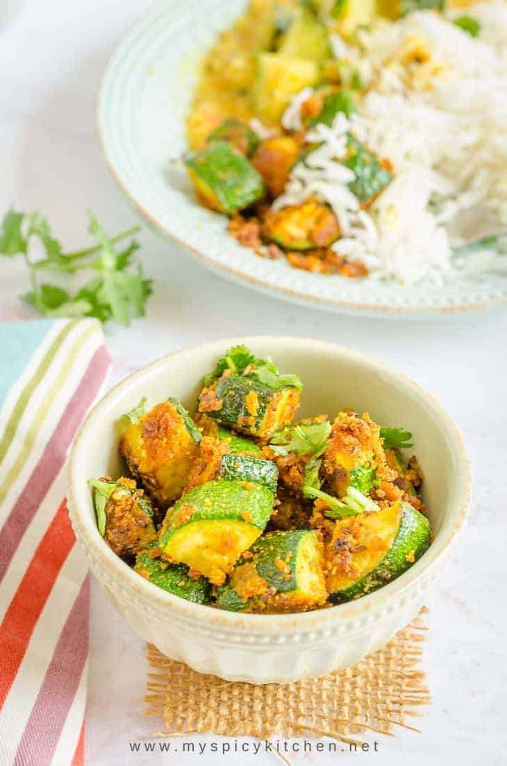 Bowl of gram flour zucchini stir fry