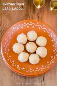 Nutritious urad dal laddu or sunnundalu are a nutritious dessert and a sweet snack from India