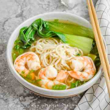 Shrimp noodle soup in a bowl