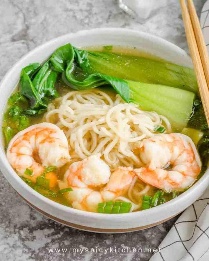 Shrimp noodle soup in a bowl