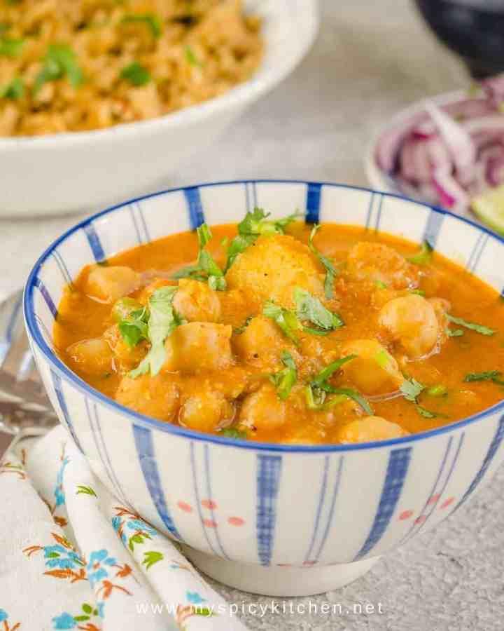 A bowl of South Indian Chana Masala