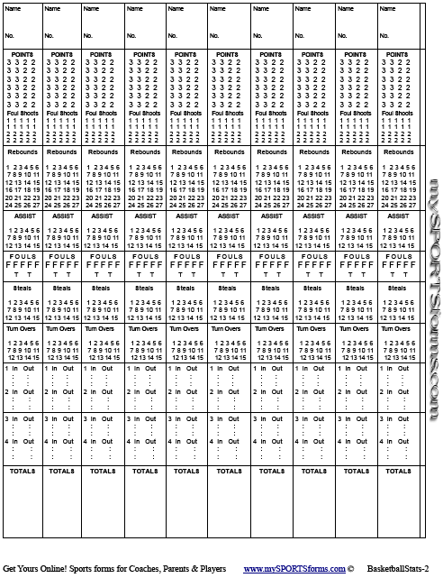 Blank Volleyball Stat Sheets Printable