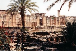 The reconstructed 4th century Capernaum synagogue rests upon the foundation of the synagogue where Jesus taught.