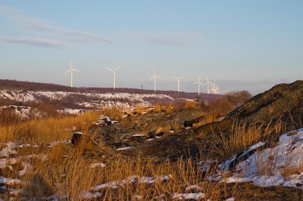 A windmill farm is visible from the end of South Street in Centralia.