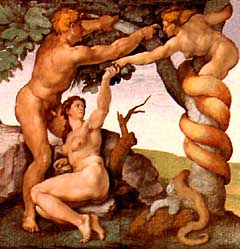 Adam and Eve tempted by the serpent