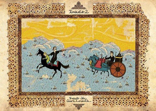 Turkish Artist Murat Palta Recreates Cult Movie Scenes As Ottoman Miniature Art terminator 2