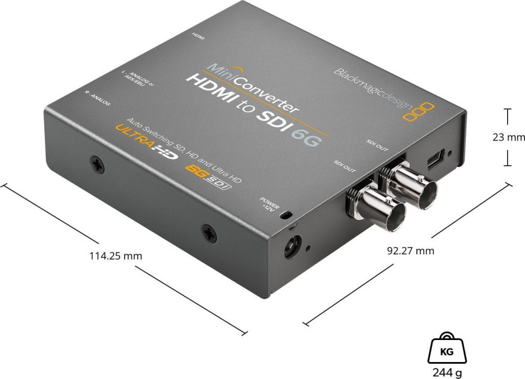 Mini Converter HDMI to SDI 6G Dimensions