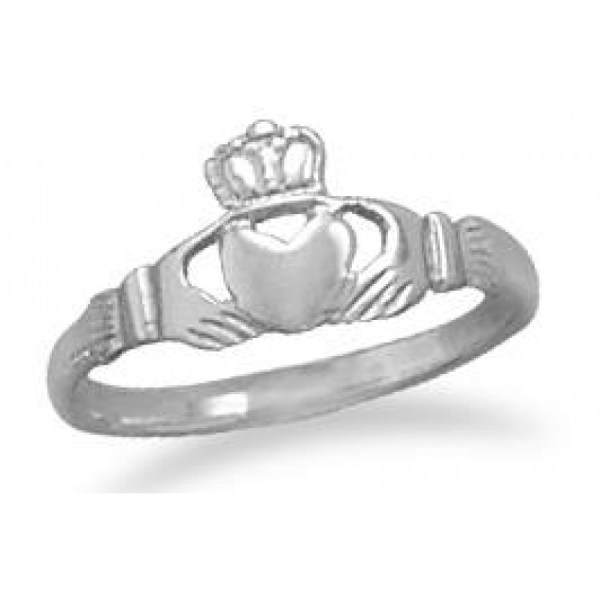 Claddagh Small Sterling Silver Ring   Irish Engagement Ring Claddagh Small Sterling Silver Ring