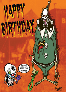 Happy Birthday Monster Clown Noose Toxic Toons Spooky