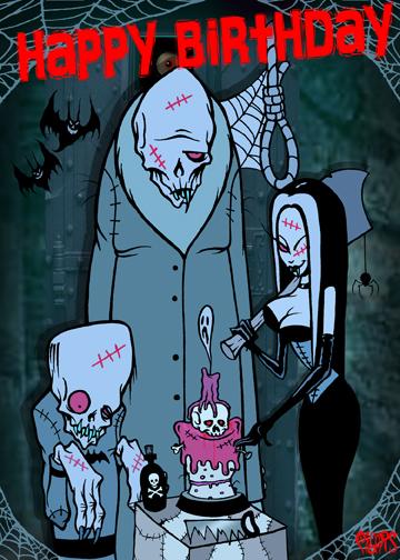 Happy Birthday Monsters Noose Toxic Toons Spooky Greeting