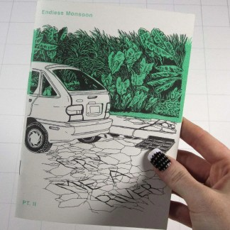 Risograph zine cover for Cry Me A River part two showing the title written in pavement cracks under a hatchback car with green plants in the background.