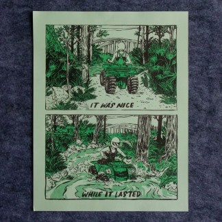 Risograph art print of swamp all terrain rider