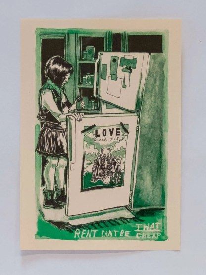 """Cheap Rent"" risograph print showing a young woman contemplating the inside of a refridgerator"