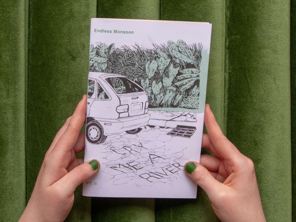 """Cry Me a River II"" risograph zine front cover with a hatchback and text written in cracks of pavement"