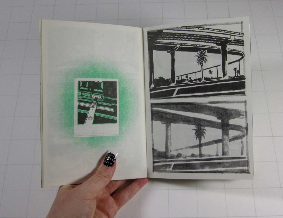 """Cry Me a River II"" risograph zine inner detail of mega bass car stereo button and tropical overpass scenery"