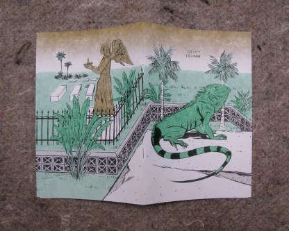"""Crypt Iguana"" risograph comic and zine front and back cover wrap showing an iguana living in a graveyard in key west"