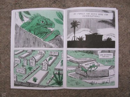 """Crypt Iguana"" risograph comic and zine inner page detail showing a graveyard that iguanas have lived in for generations"