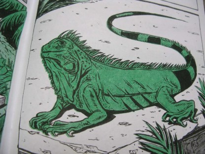 """Crypt Iguana"" risograph comic and zine inner page detail showing an iguana basking on a ledge"