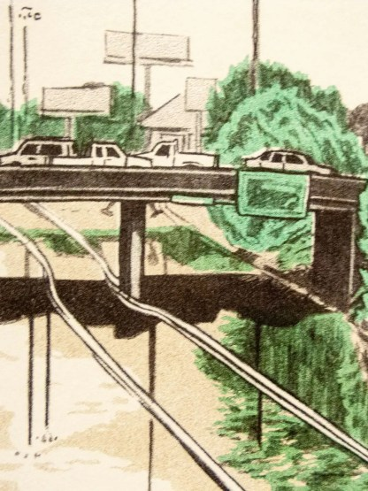 """Sinking Truck"" risograph art print zoomed in detail of cars parked on highway overpass to escape flood water"