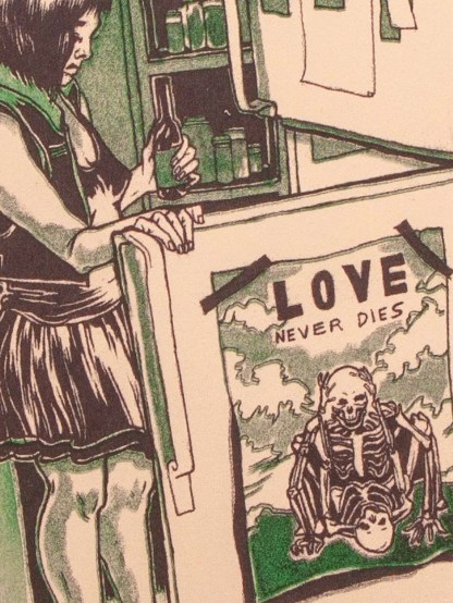 """Cheap Rent"" risograph print showing a young woman contemplating the inside of a refridgerator. Zoomed in detail."