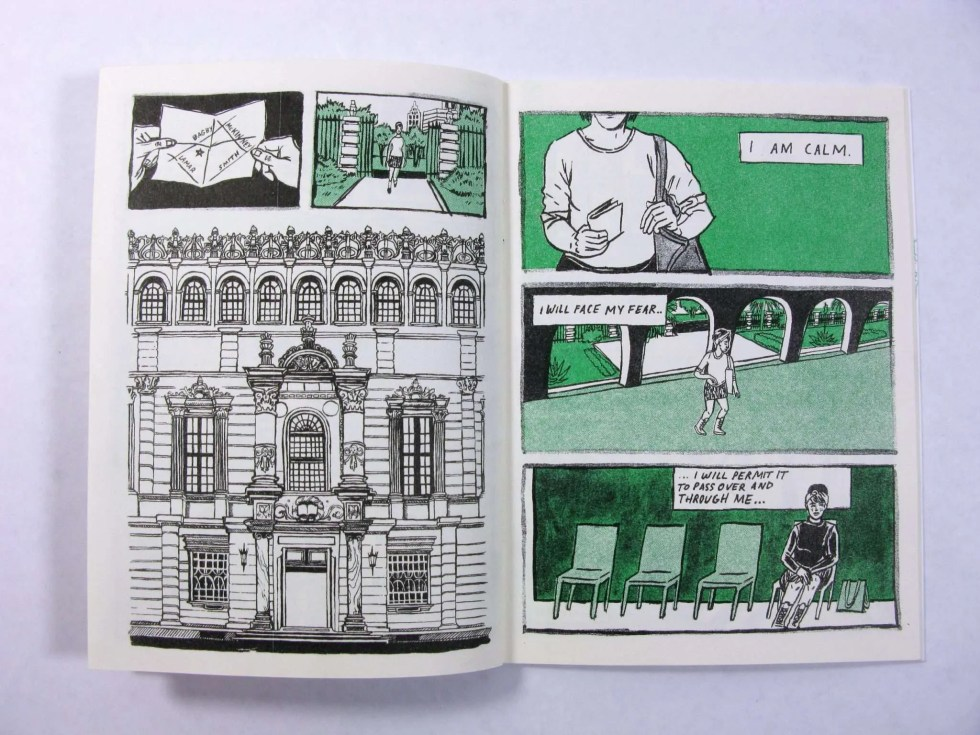 """Only Humid"" risograph zine inner page detail showing an ornate building facade and main character crossing the property"